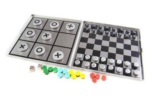 "Attica Alu Series: ""4-in-1 game set C"" - Chess, Solitaire (Peg Solitaire deor Sailor's Solitaire), ""Mensch-ärgere-dich-nicht"" (""Do not get angry""), Tic-Tac-Toe, with magnetic game pieces, playing board 10,5cm x 10cm x 0,6cm (XY046P4 US) - 1"