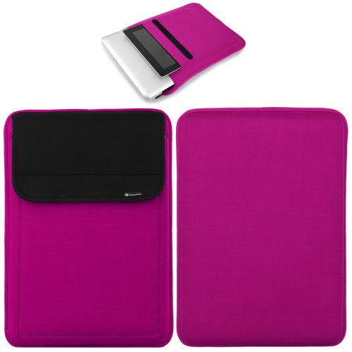 CaseCrown Neoprene Sleeve Case (Pink) for 13 Inch Apple MacBook Air / MacBook Pro + Pocket for iPad Air with Retina Display & iPad 4 / 3 / 2