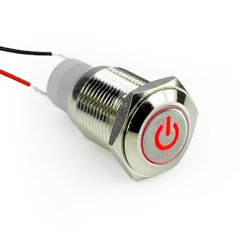 Smakn 16Mm 12V Car Angel Eye Red Led Lighted Silver Metal Resetable Stainless Steel Switch Latching Push Button