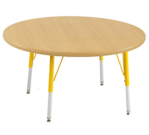 Ecr4kids 36 round activity table standard legs w swivel glides maple top yellow legs - Table glides for legs ...