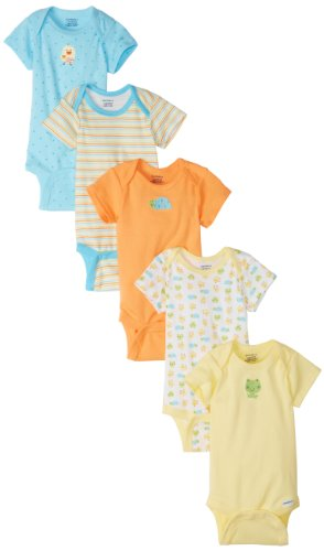 Gerber Unisex-Baby Frogs And Ducks 5 Pack Variety Onesies Brand, Yellow/Blue, 0-3 Months