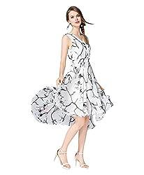 hk fashion satin fabrics digital print white blue flowers western dress