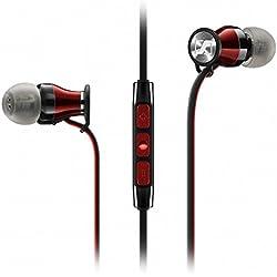 Sennheiser Momentum in-ear i Black - Auriculares con cable para móvil in-ear (control remoto integrado, para Iphone/Ipod/Ipad), negro y rojo