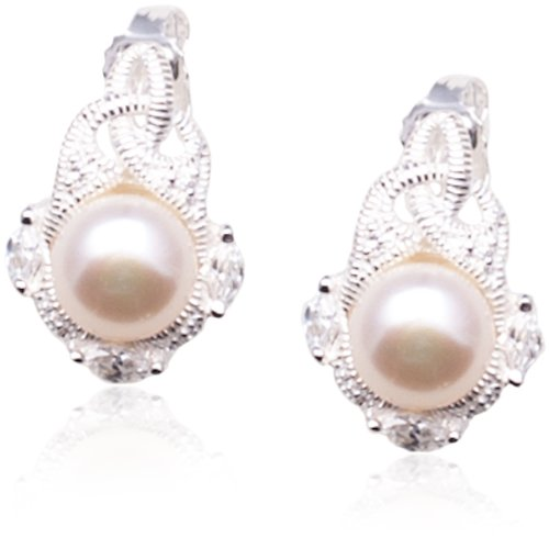 Sterling Silver Simulated Pearl and Cubic Zirconia Drop Earrings