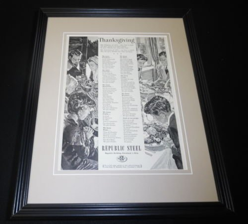 1951 Republic Steel Thanksgiving Framed 11x14 ORIGINAL Vintage Advertisement (Republic Steel compare prices)
