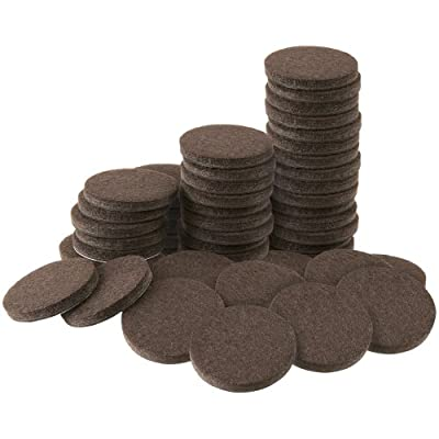 "Self-Stick 1"" Furniture Felt Pads for Hard Surfaces (16 piece) - Brown, Round"