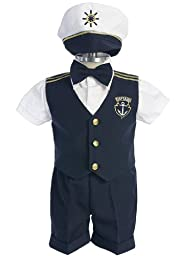 Classy Navy Captain Boy Set - Vest, Shirt, Shorts, Tie and Hat (Baby-Large)