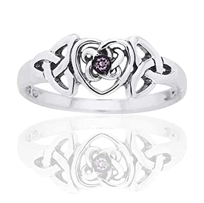 February Birthstone Ring - Sterling Silver Simulated Amethyst Celtic Trinity Knot Heart