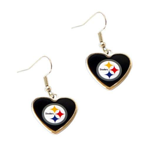 Pittsburgh Steelers NFL Sports Team Non-Swirl Heart Shape Dangle Earring Charm Jewelry Pendant at Steeler Mania
