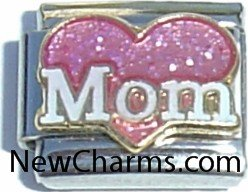 Mom With Pink Heart Italian Charm Bracelet Jewelry Link from New Charms