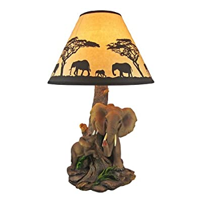 Elephant Mother And Child Table Lamp Silhouette Shade