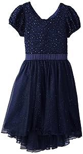 Speechless Big Girls' Short Sleeve Party Dress, Navy, 16