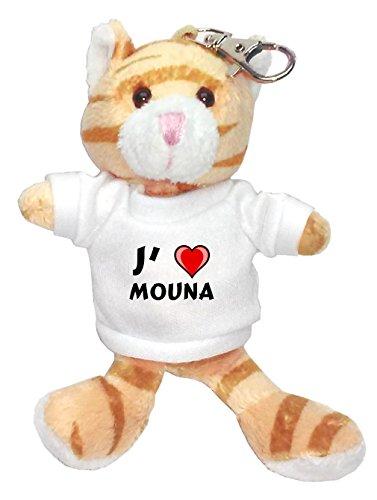 Chat marron peluche porte-clé avec J'aime Mouna (Noms/Prénoms)