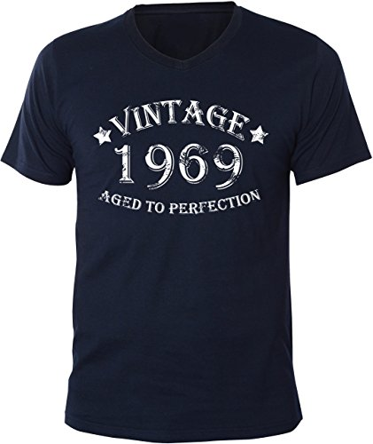 Mister Merchandise Uomo V-Neck T-Shirt Vintage 1969 - Aged to Perfection , Men Maglietta Camicia, Taglia: XXL, Color: Navy