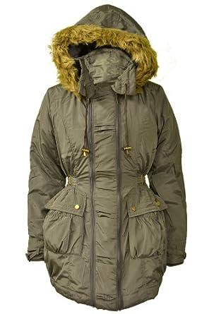 New Womens Black/Khaki Quilted Military Parka Furs Trim Hooded Hood Ladies Plus Size Jackets Coats Size 10 12 14 16 18 20 22 24 26 (10, Khaki)