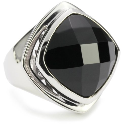 ELLE Jewelry Sterling Silver Black Agate Ring