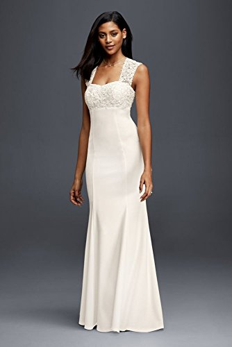Lace and Crepe Sheath Wedding Dress Style 183625DB, Ivory, 12