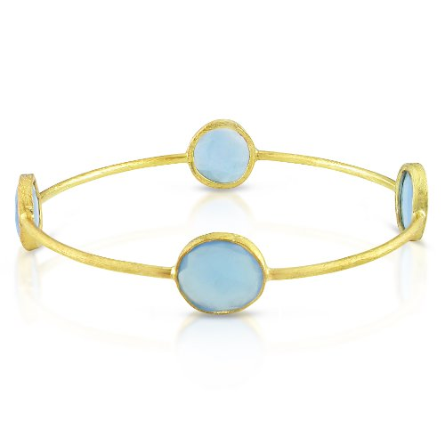 22k Yellow Gold Plated Silver 16ct TGW Blue Onyx Bangle (7in)