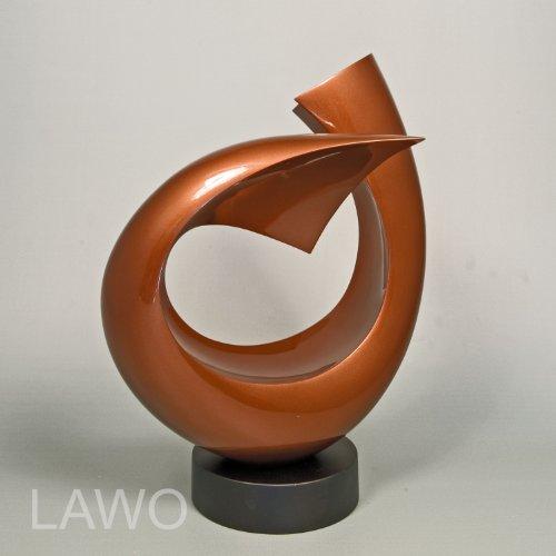 LAWO 104373 Sculpture Design in Laccato LINUS marrone Moderno Art Decorazione Oggetto Esclusivo Scultura in Legno