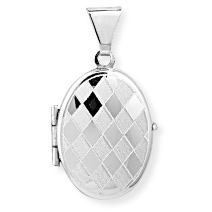 Jewelco London 9ct White Gold - - Oval Locket -