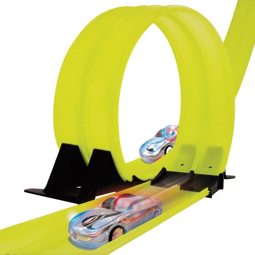 Marble Racers Glow In The Dark Race Track With 2 Led Light Ball Cars & Decals