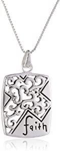 "Sterling Silver ""Faith"" Rectangular Pendant Necklace with Cut-Out Cross, 18"""