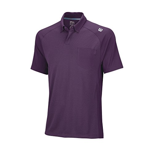 Wilson, Polo da tennis Uomo, Viola (Deep Plum/Pearl Grey), XL