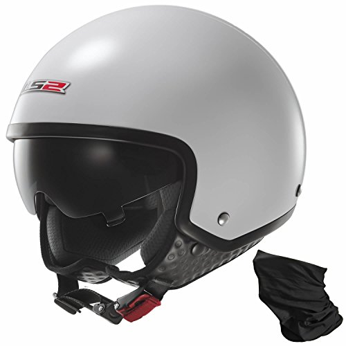 LS2Wave Viso Aperto Moto Casco con visiera parasole integrato e MKR bandoozi-Bianco lucido M (57-58cm)