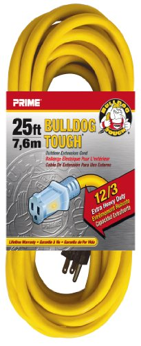 Prime Wire & Cable Lt511825 25-Foot 12/3 Sjtow Bulldog Tough Extension Cord With Prime Light Indicator Light, Yellow