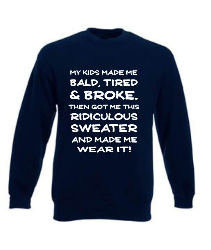 Funny Dad's Present Gift for Christmas Father's Day etc Sweatshirt Sweater Jumper, Mens, Navy, Medium