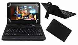 Acm Premium Usb Keyboard Case For Micromax Canvas Tab P701 Tablet Cover Stand With Free Micro Usb Otg - Black