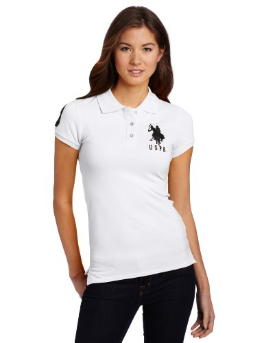 Us Polo Assn. Juniors Solid Polo With Big Pony, White/Black, Large