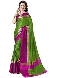 Buyonn Women Cotton Silk Saree With Blouse Piece (Party Wear Sarees_Multi-Coloured_Free Size)