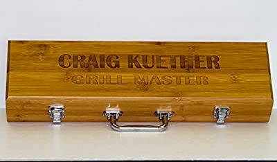 Personalized BBQ set Customized Barbecue Tools Bamboo Presentation Case, Grill Master, Birthday, Housewarming Gift