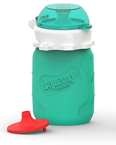 Squeasy Snacker 3.5oz Silicone Reusable Food Pouch - Aqua