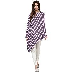 Pluchi Fashion Knitted Cotton Poncho Garnet-LT PURPLE & WHITE