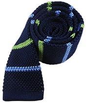 """100% Knitted Silk Navy Knit Alt Stripe 2"""" Tie"""