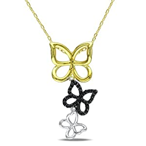 White Yellow Sterling Silver, Black Diamond Butterfly Pendant with Chain, (.2 cttw), 18""