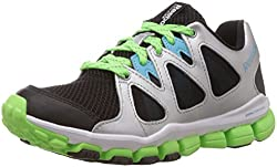 Reebok Boys Realflex Transition 5.0 Black, Silver, Blue, Green and White Mesh Sneakers - 3C UK