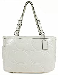 Coach Gallery Embossed Signature Stitch Patent Leather Tote Bag 18326 Ivory White