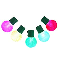 Set of 10 LED Multi-Color G30 Sugared Christmas Lights - Green Wire