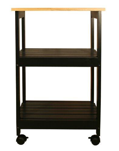 Catskill Craftsmen Utility Kitchen Cart, Black Base Natural Top