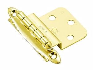 Amerock BP34173 Non Self-Closing Face Mount Inset Hinge, Bright Brass, 3/8-Inch