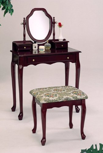 Queen Anne Style Cherry Finish Wood Vanity Table Tapestry Stool & Mirror Set