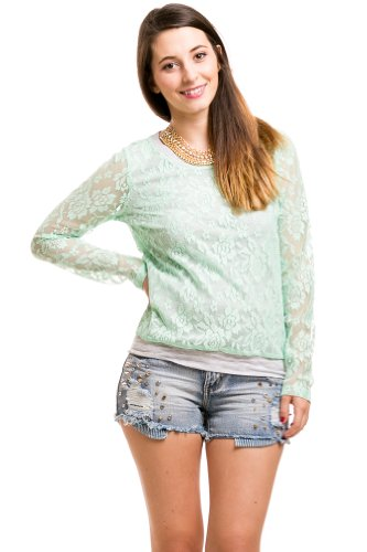 Lace Coated Net Tee In Mint