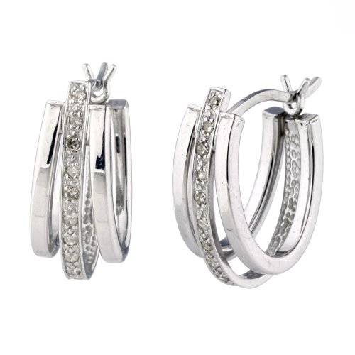 Diamond Hoop Earrings In Sterling Silver With 14K White Gold Plating 1/2 Inch