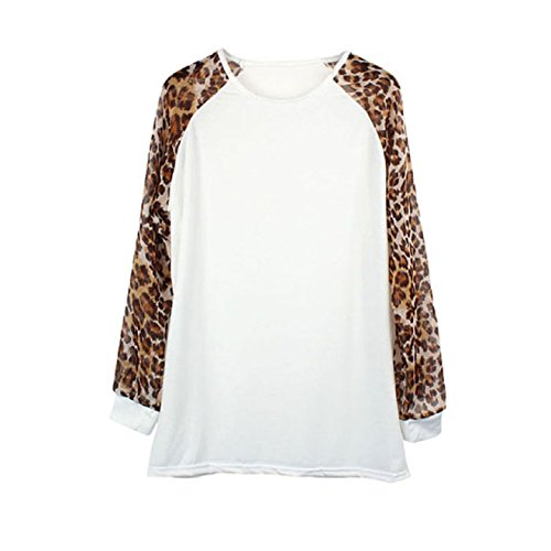 Aokdis Womens Round Neck Long Sleeve Leopard Print T-Shirt Blouse Tops (L, Yellow)