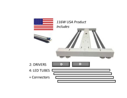 116W Led Low Bay/High Bay Fixture: (4) 29W 50K Led Tubes & (2) Driver In Open 2X4 Fixture