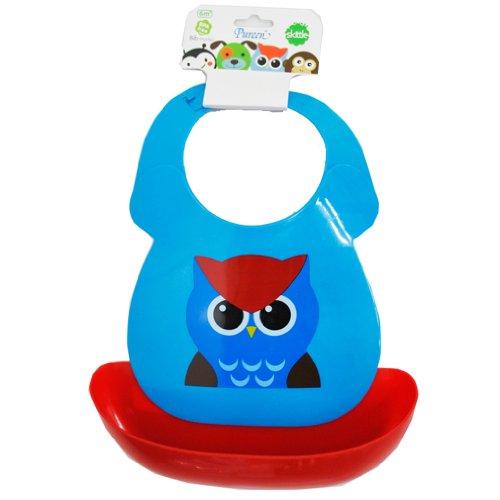 Pureen Skittle Baby Feeding Plastic Bib Waterproof (Owl)