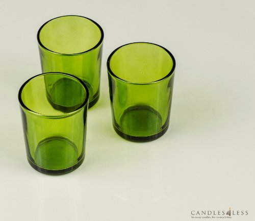 Green Glass Votive Candle Holders (Set of 12)